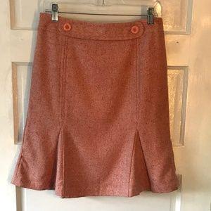 Ann Taylor Loft Pink Herringbone Tweed Flare Skirt